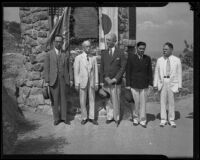 Prince Kaya of Japan visiting the Lt. Col. Shunzo Kido memorial plaque on Mount Rubidoux, Riverside, 1934