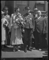 Prince and Princess Kaya of Japan with Senichi Kushibuchi and Mayor Frank Shaw upon their arrival at the La Grande Station, Los Angeles, 1934