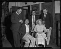 Kidnapping victims John Jeske and his wife Elaine with unknown justice officials, Los Angeles, 1934