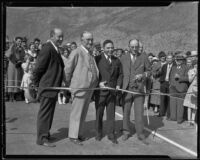 Los Angeles Supervisor Roger Jessup at a new highway ribbon cutting ceremony, Castaic vicinity, 1933