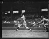 Smead Jolley swinging away at bat for the Hollywood Stars team at Wrigley Field, Los Angeles, 1926-1933