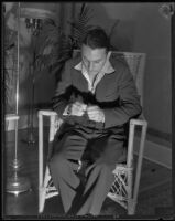 Charles Johnston sitting after confessing to the murder of Dorothy Smith, Monrovia, 1934