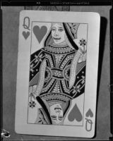 Playing card sent between Charles Johnston and Dorothy Smith, Monrovia, 1934