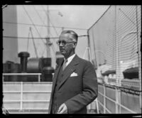 Dr. Edward B. Jones on shipboard upon his return form Hawaii, San Pedro, 1932