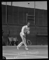Arnold Jones playing tennis at the Davis Cup held at the Los Angeles Tennis Club, Los Angeles, 1928