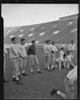 USC football team during practice at the Coliseum, Los Angeles, 1925-1939