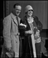 Actress Leatrice Joy and her brother Billy Joy at a train station, 1931