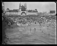 Crowd celebrating the Fourth of July in front of the Ocean Park Bathhouse, Venice, 1929