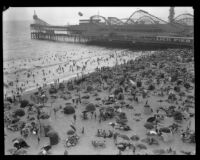 Crowd celebrating the Fourth of July on the beach near Lick Pier and Ocean Park Pier, Venice, 1929