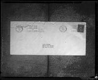 Envelope addressed to Murdo Graham from the address of the New Monte Cristo Mining Co. dated 21 May 1929, probably photographed in 1929-1933