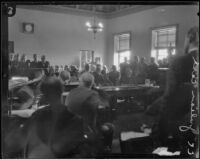 Courtroom during one of the cases against con man C. C. Julian, Los Angeles, Los Angeles, 1926-1933