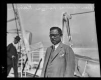 Admiral Kenwa Kanna on board the liner City of Honolulu, Los Angeles, 1927
