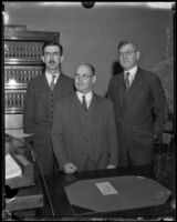 Disgraced Los Angeles city official Sidney Graves and his lawyers, Los Angeles, 1933