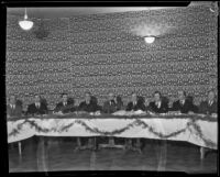 Chamber of Commerce and Community Chest members make the first official trans-Pacific call to Hawaii, Los Angeles, 1931