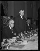 J. A. H. Kerr and J. Reuben Clark Jr. at luncheon to discuss financial agreements, Los Angeles, 1934
