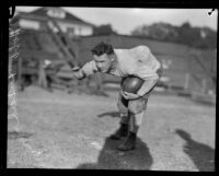 USC football star Howard F. (Hobo) Kincaid at a practice, Los Angeles, 1922