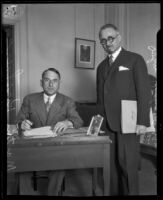 Hungarian diplomat and businessman Martin Kirschner and his secretary John Wolfgarten at the Biltmore, Los Angeles, 1927