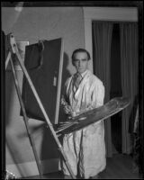 Hungarian artist Rudolphe Kiss in front of his easel, Los Angeles, 1931-1938