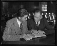 Eugene Kent, President of Glendale Protective Association, with his lawyer before trial, Glendale, 1935