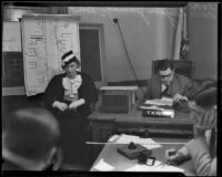 Judge Robert W. Kenny presiding over the divorce case of Marie Pergain Jennings, Los Angeles, 1933