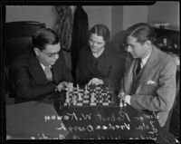 Zola Vredenburgh watches Judge Robert Kenny playing chess againast a Judge Wilbur Curtis, Los Angeles, 1934