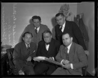 Assistant City Attorney Newton Kendall with other city officials deciding parking policies, Los Angeles, 1935