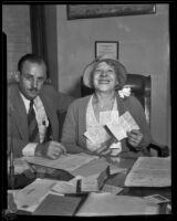 "Minnie Kennedy with attorney Marion P. Betty filing for divorce from ""Whataman"" Guy Edward Hudson, Los Angeles, 1931-1939"
