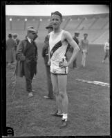 High school track athlete Vic Klein competing at the Memorial Coliseum, Los Angeles, 1924-1926