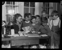 Edith Yeomans and seven boys at the Lark Ellen Home for Boys, Sawtelle (Los Angeles), 1924