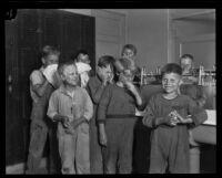 Boys wash up at the locker room sink at the Lark Ellen Home for Boys, Sawtelle (Los Angeles), 1924