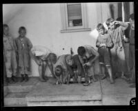 Boys washing their feet in a back porch sink at the Lark Ellen Home for Boys, Sawtelle (Los Angeles), 1924