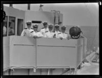 Lieutenant E. S. Schanze, Lieutenant-Commander R. W. Cary, Lieutenant A. T. Sprague, Jr., Vice-Admiral Richard H. Leigh, Lieutenant F. L. Riddle, and Captain Joseph K. Taussig on sea, San Pedro, 1931
