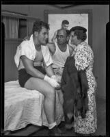 King Levinsky with his sister Lena and trainer Jerry Luvadis, Los Angeles, 1934