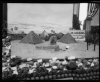 West Orange Farm Center's agricultural display at the Orange County Fair, Orange County, 1930