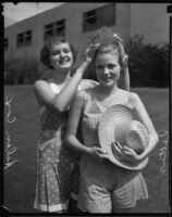 Helen Cox, 1933 LA County Fair queen, crowns Ann Harriet Pettus, 1934 LA County Fair Queen, Pomona, 1934
