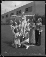 "LA County Fair Farm Queen, Ann Harriet Pettus, and her ""Court"", Pomona, 1934"