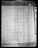 Quilt featuring drawn or embroidered portraits of various celebrities at the Los Angeles County Fair, Pomona, 1932