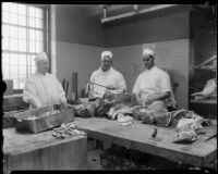 Butchers in the Los Angeles County General Hospital kitchen prepare meat, Los Angeles, [1934]