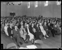 Attendees at the Los Angeles County General Hospital dedication sit in an auditorium, Los Angeles, 1934