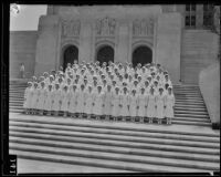 Graduate nurses pose on the front steps of Los Angeles County General Hospital, Los Angeles, 1934