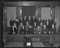 Jury members Mae Cushman, Alta McElhany, Georgia May Watson, Irene T. Lindsey, James T. Tickner, James H. Fulcher, Bertha Nesselroad, Gertrude Hadlow, Dr. John P. Buckley, R.S. Martin, William C. Harvey, John G. Freeman, Marco R. Newmark, Christine Foulkes, Samuel Namson, John W. Barter, deputy District Attorney Percy Hammon, Wayne Fisher, Austin E. Cotton, Morris Cadawalader and Harry Ostraff, Los Angeles, 1934
