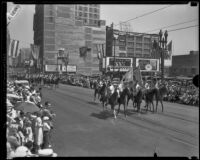 Horsemen in parade commemorating 151st anniversary of settlers in Los Angeles, 1932