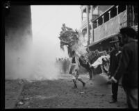 Lion Dance during Chinese New Year celebration in Chinatown, Los Angeles, 1928