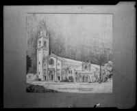 Architectural drawing of the Wilshire Boulevard Congregational Church with the Gunsaulus Hall addition, circa 1925