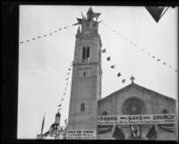 Wilshire Boulevard Congregational Church with fundraising banners, Los Angeles, 1928