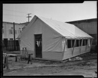 Exterior view of one of the tents used for a classroom, Los Angeles, 1935