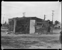 Home in Alameda shanty town, Los Angeles, 1930s