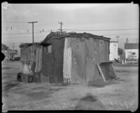Hooverville home made of scrap metal, Los Angeles, 1930s