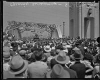 Crowds gather for the formal opening of the Sixth Street Viaduct, Los Angeles, 1933