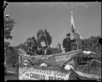 Nautically-themed float takes part in parade for dedication of Vermont Avenue and Cabrillo Beach, Los Angeles, 1932